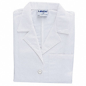 Collared Lab Coat,M,White,39 In. L