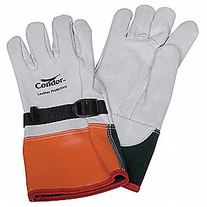 "Electrical Glove Protector, White/Orange/Green, Goatskin Leather, 12"" Length"