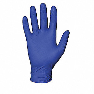 "11"" Powder Free Unlined Nitrile Disposable Gloves, Blue, Size  L, 100PK"