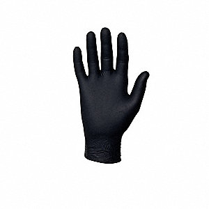 "9-1/2"" Powder Free Unlined Nitrile Disposable Gloves, Black, Size  XS, 100PK"
