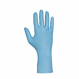 "12"" Powder Free Unlined Nitrile Disposable Gloves, Blue, Size  M, 50PK"