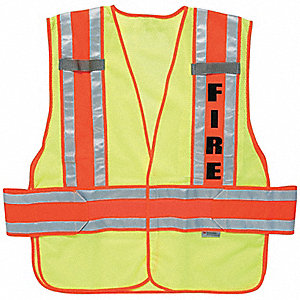 Fire Hook-and-Loop Safety Vest, Type P, Class 2, High Visibility Green, XL/2XL