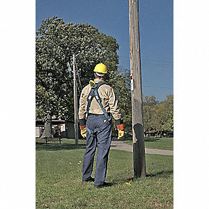 L Arc Flash Full Body Harness, 7000 lb. Tensile Strength, 420 lb. Weight Capacity, Blue/Gray/Yellow