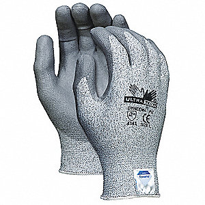 Polyurethane Cut-Resistant Gloves, ANSI/ISEA Cut Level A3 Lining, Salt and Pepper, XS, PR 1