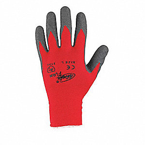 15 Gauge Crinkled Natural Rubber Latex Coated Gloves, Glove Size: S, Gray/Red