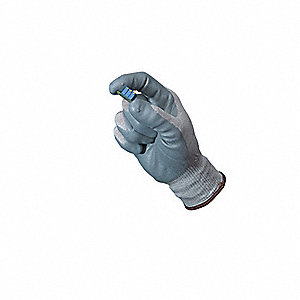 Antistatic Gloves, Gray/White, Nitrile, Size L, Rolled Cuff