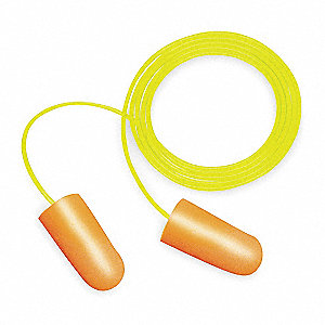 32dB Disposable Tapered Shape Ear Plugs&#x3b; Corded, Assorted, Universal