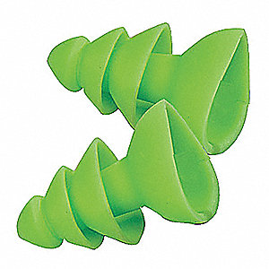 25dB Reusable Flanged Shape Ear Plugs&#x3b; Without Cord, Green, Universal
