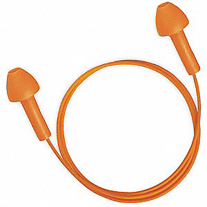24dB Reusable Flanged Shape Ear Plugs&#x3b; Corded, Orange, Universal