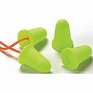33dB Disposable Bell Shape Ear Plugs&#x3b; Corded, Yellow, Universal