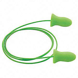 33dB Disposable Contoured Shape Ear Plugs&#x3b; Corded, Green, Universal