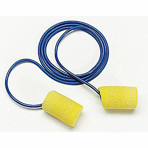 33dB Disposable Cylinder-Shape Ear Plugs&#x3b; Corded, Yellow, L