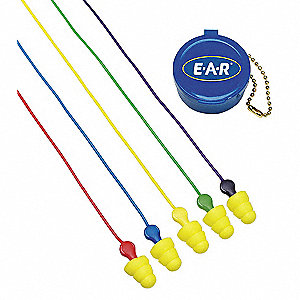 26dB Reusable Flanged-Shape Ear Plugs; Corded, Yellow, Universal