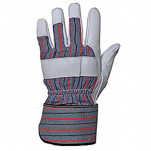 Anti-Vibration Gloves, Leather Palm Material, White, 1 PR