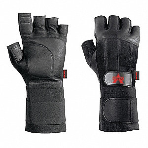 Anti-Vibration Gloves, Pigskin Leather Palm Material, Black, EA 1