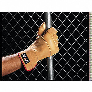 Anti-Vibration Glove, Cowhide Leather Palm Material, Buff, L, EA 1