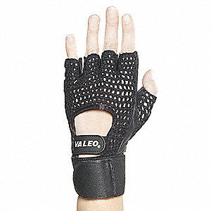 Anti-Vibration Gloves, Leather/Nylon/Cotton Palm Material, Black, L, PR 1
