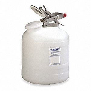 Safety Disposal Can, 2-1/2 gal., Corrosives, Polyethylene, White