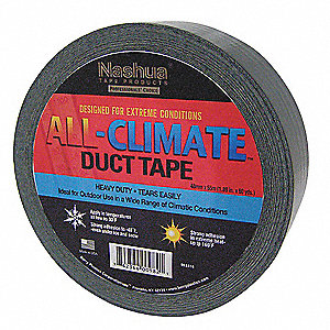 Industrial Duct Tape, 48mm X 55m, 9.00 mil Thick, Black Coated Cloth, 1 EA