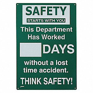 Safety Record Signs,20 x 14In