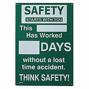 Safety Record Signs,20 x 14In,ENG