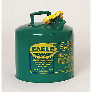 2 gal. Type I Safety Can, Used For Oil, Green&#x3b; Includes Non Sparking Pour Spout with Flame Arrester