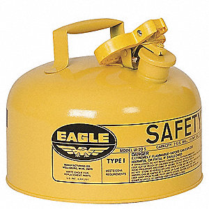2 gal. Type I Safety Can, Used For Diesel, Yellow&#x3b; Includes Non Sparking Pour Spout with Flame Arres