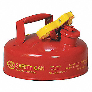 Type I Can Type, 1/2 gal., Flammables, Galvanized Steel, Red