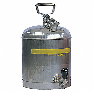 Type I Can Type, 5 gal., Flammables, Stainless Steel, Silver