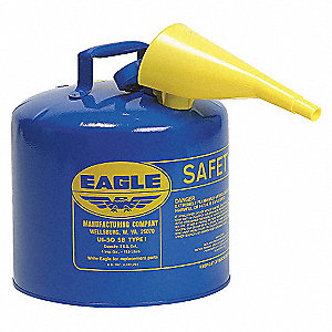 Type I Can Type, 5 gal., Kerosene, Galvanized Steel, Blue