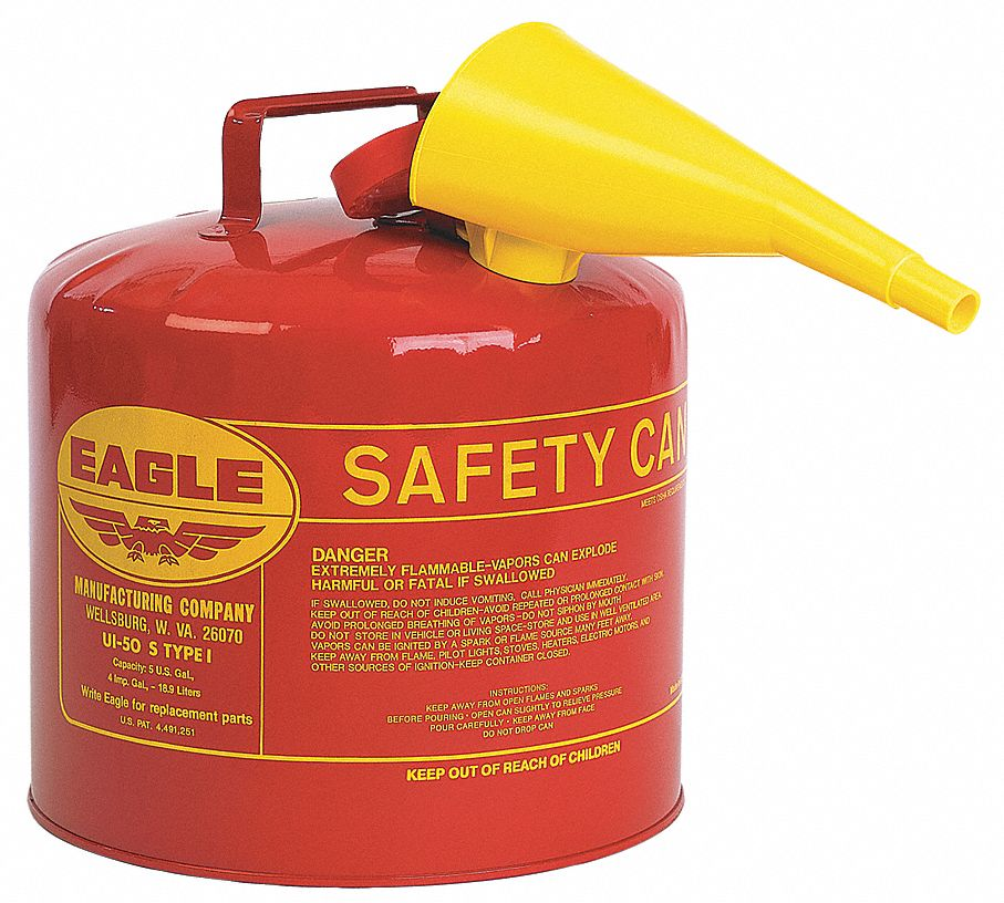 Type I Can Type, 5 gal, Flammables, Galvanized Steel, Red
