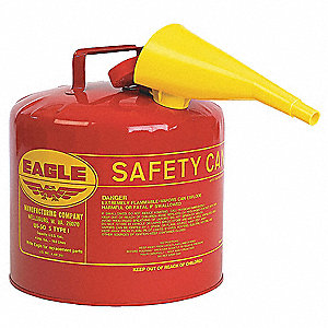 Type I Can Type, 5 gal., Flammables, Galvanized Steel, Red