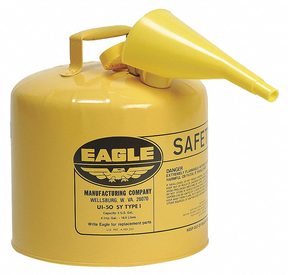 Type I Can Type, 5 gal, Diesel, Galvanized Steel, Yellow