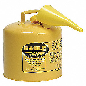 5 gal. Type I Safety Can, Used For Diesel, Yellow&#x3b; Includes Polyethylene Pour Funnel