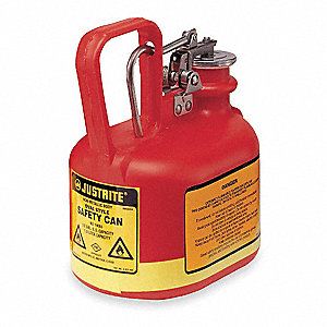1/2 gal. Type I Safety Can, Used For Flammables, Red&#x3b; Includes Stainless Steel Fittings