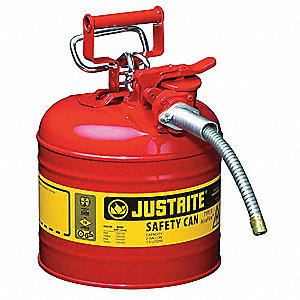 Type II Can Type, 2 gal., Flammables, Galvanized Steel, Red