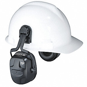 Black Cap-Mounted Ear Muff, Noise Reduction Rating NRR: 27dB, Dielectric: Yes