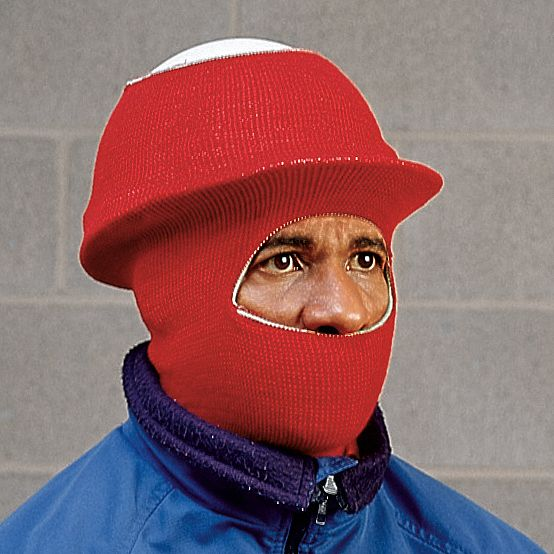 Hard Hat Liner,  Universal,  Red,  Covers Ears, Face, Neck,  Over The Head