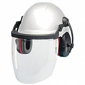 Hard Hat, Face Screen and Ear Muffs Hard Hat Component Kit w/ Earmuffs, Bracket and Visor, 6 pt. Pin