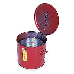 Red Wash Tank Can with Basket, Steel, Benchtop Mounting Type, 8 gal. (6 gal. with Basket) Capacity,