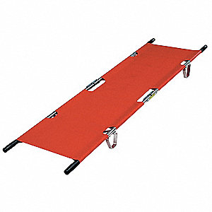 "Folding Stretcher,  81"" Length,  21-1/2"" Width,  5-3/4"" Height,  Orange,  350 lb. Weight Capacity"