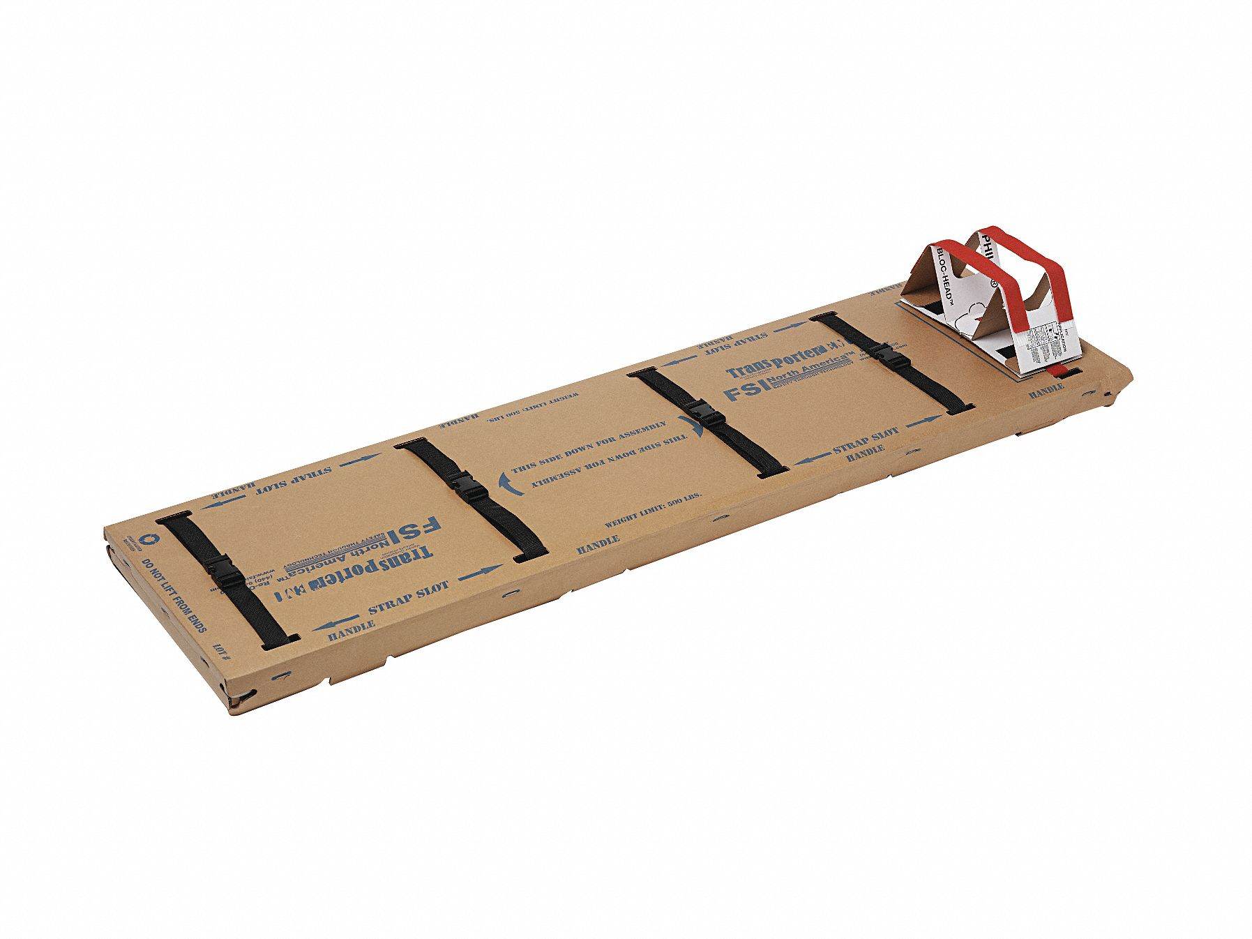 Disposable Backboard,  72 in Length,  21 in Width,  4 in Height,  520 lb Weight Capacity,  Tan