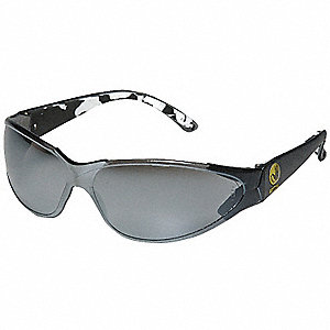 V-Line Plano Scratch-Resistant Safety Glasses, Smoke Mirror Lens Color