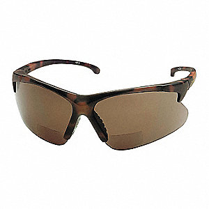 Brown Scratch-Resistant Bifocal Safety Reading Glasses, +2.0 Diopter