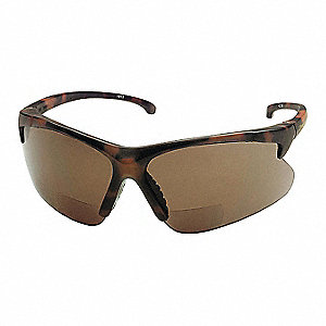 Brown Scratch-Resistant Bifocal Safety Reading Glasses, +2.5 Diopter