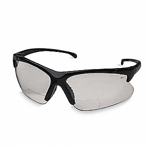 Clear Scratch-Resistant Bifocal Safety Reading Glasses, +2.0 Diopter