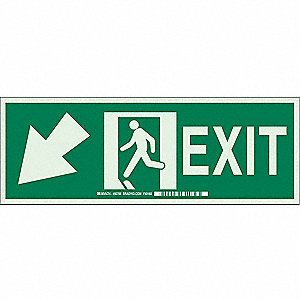 Exit Sign,5 x 14In,GRN/Glow,Exit,ENG