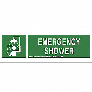 Emergency Sign,5 x 14In,LT GRN/GRN,ENG