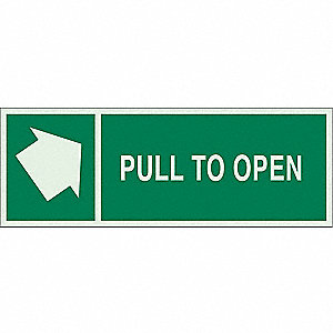 Directional Sign,5 x 14In,LT GRN/GRN,ENG