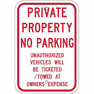 "Parking, Private Property No Parking, Aluminum, 18"" x 12"", High Intensity Prismatic"